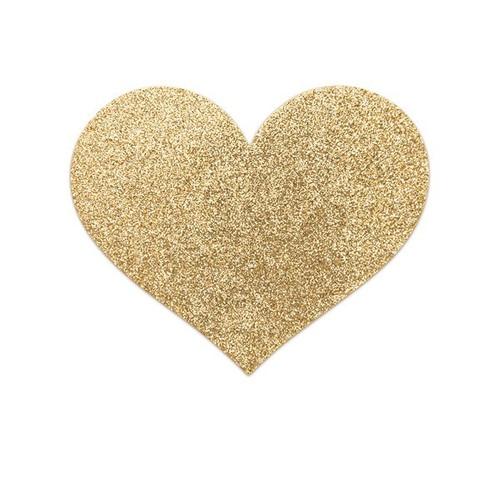 Bijoux Indiscrets-Flash Heart Glitter Pasties-Gold