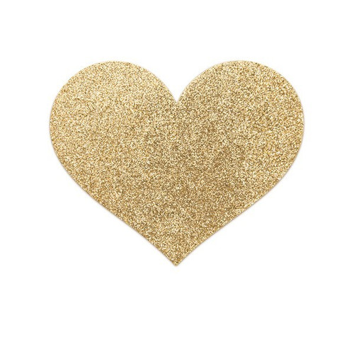 Bijoux Indiscrets-Flash Heart Glitter Pasties-Gold