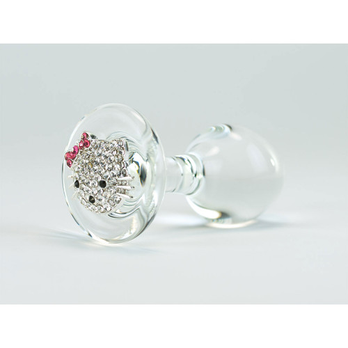 Hello Kitty Delight Clear Glass Butt Plug by Crystal Delights-Clear