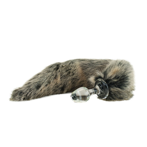 Crystal Minx Faux Fur Tail Glass Butt Plug by Crystal Delights-Grey Wolf