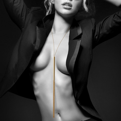 Bijoux Indiscrets-The Magnifique Collection Metallic Chain Whip Necklace-Gold