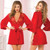 Satin and Eyelash Lace Robe by Seven Til Midnight-Red