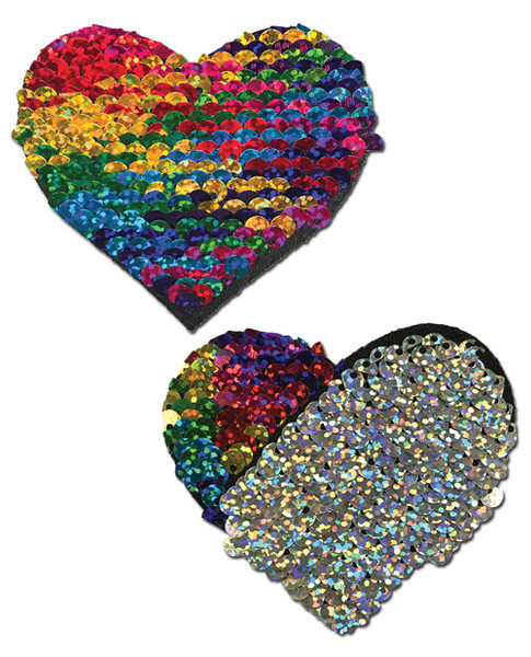 Pastease Reversible Sequin Heart Nipple Pasties-Rainbow/Silver