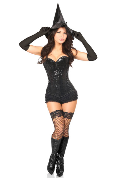 Black Sequin Witch Corset Costume by Daisy Corsets