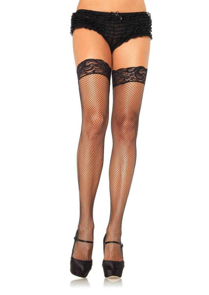 Stay Up Lace Top Fishnet Thigh High Stockings by Leg Avenue-Black