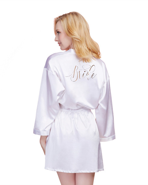 White Satin Charmeuse Bride Robe