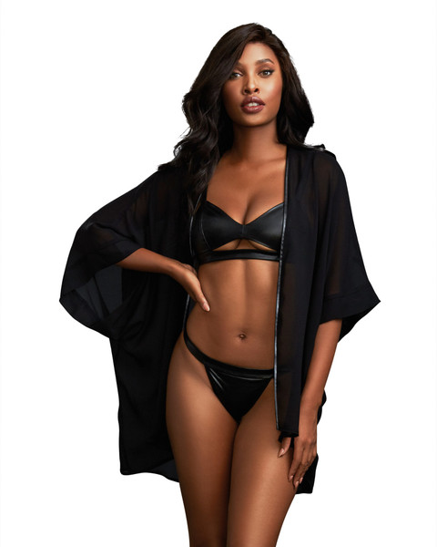 Black 3 Piece Chiffon Robe Faux Leather Bralette Thong Set