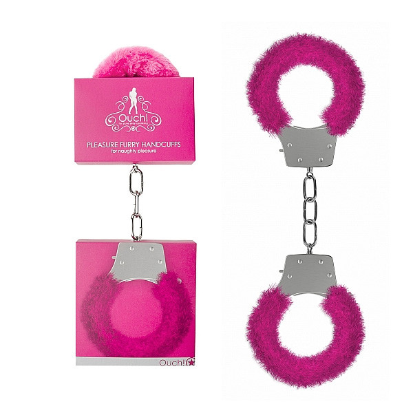 Ouch! Pleasure Furry Handcuffs-Pink
