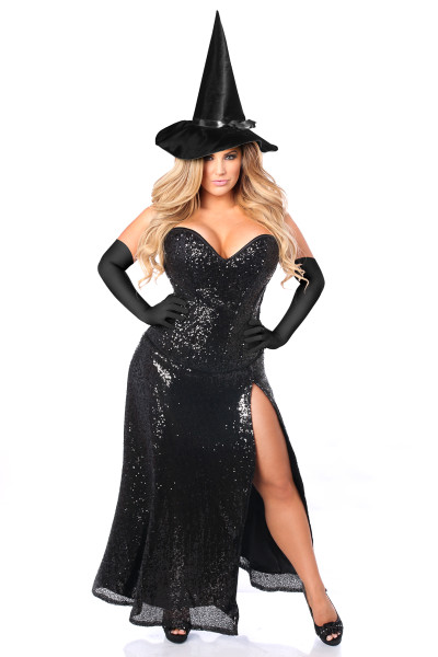Black Sequin Witch Corset and Skirt Costume by Daisy Corsets