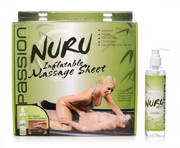 Nuru Inflatable Black Vinyl Massage Sheet and Gel Set