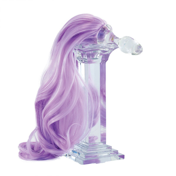 Faux Pony Tail Crystal Minx Detachable Glass Butt Plug by Crystal Delights-Lavender