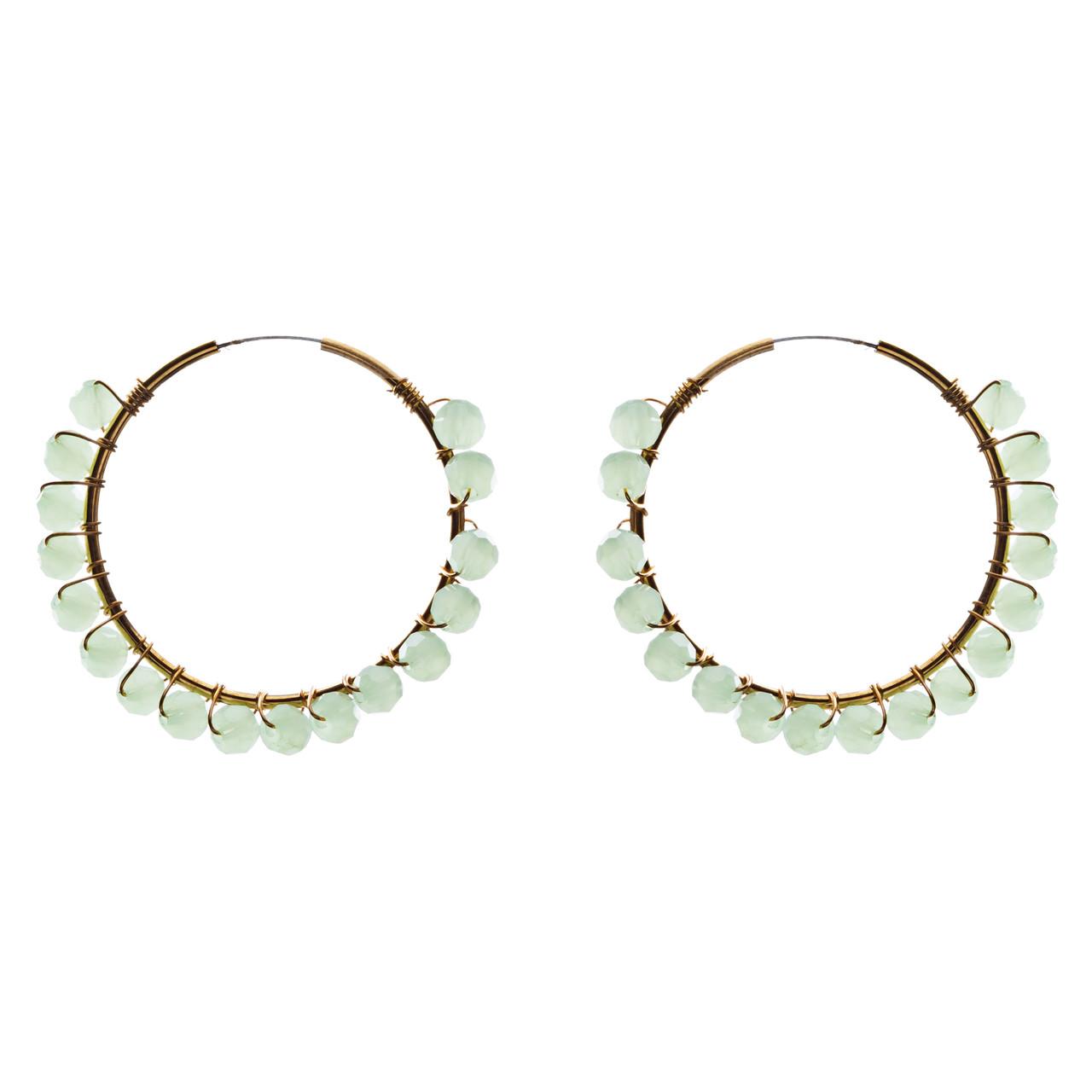 Green wired hoop earrings