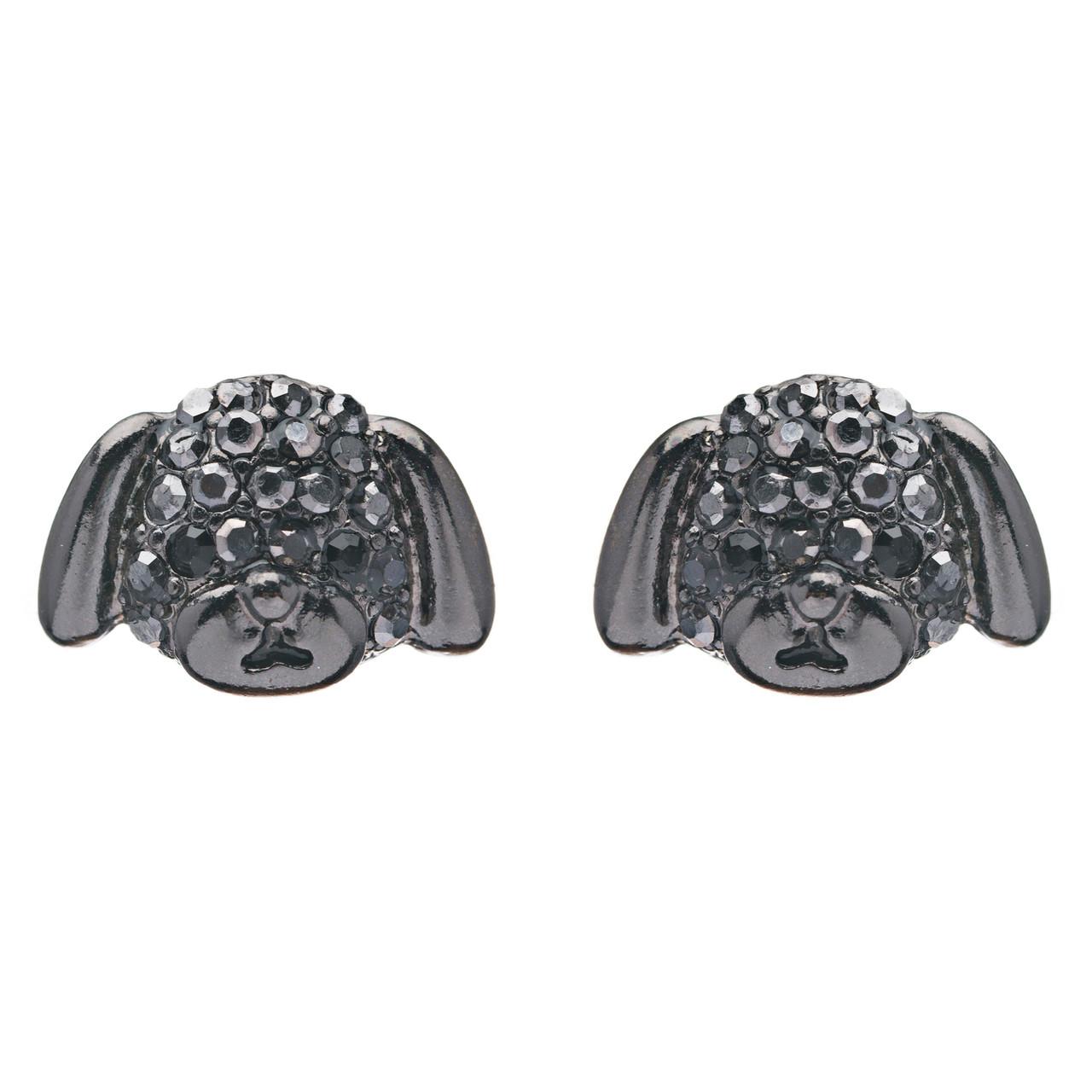 d92ffed41 Accessoriesforever | Puppy Dog Crystal Rhinestone Fashion Small Stud  Earrings Hematite Black