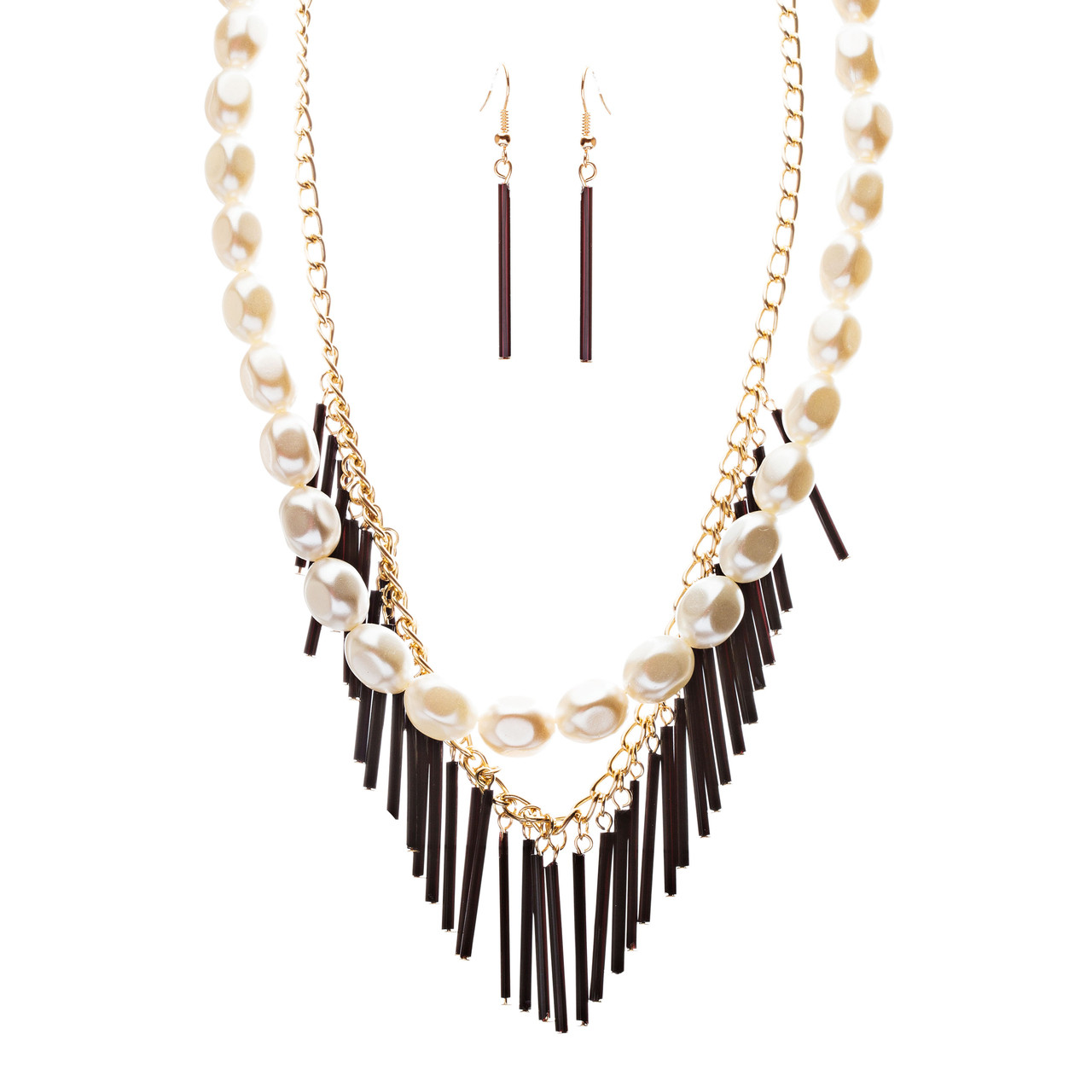 59cbb5960 Accessoriesforever | Elegance Fashion Faux Pearl Multi Layered Chain  Necklace And Earrings JN262Black