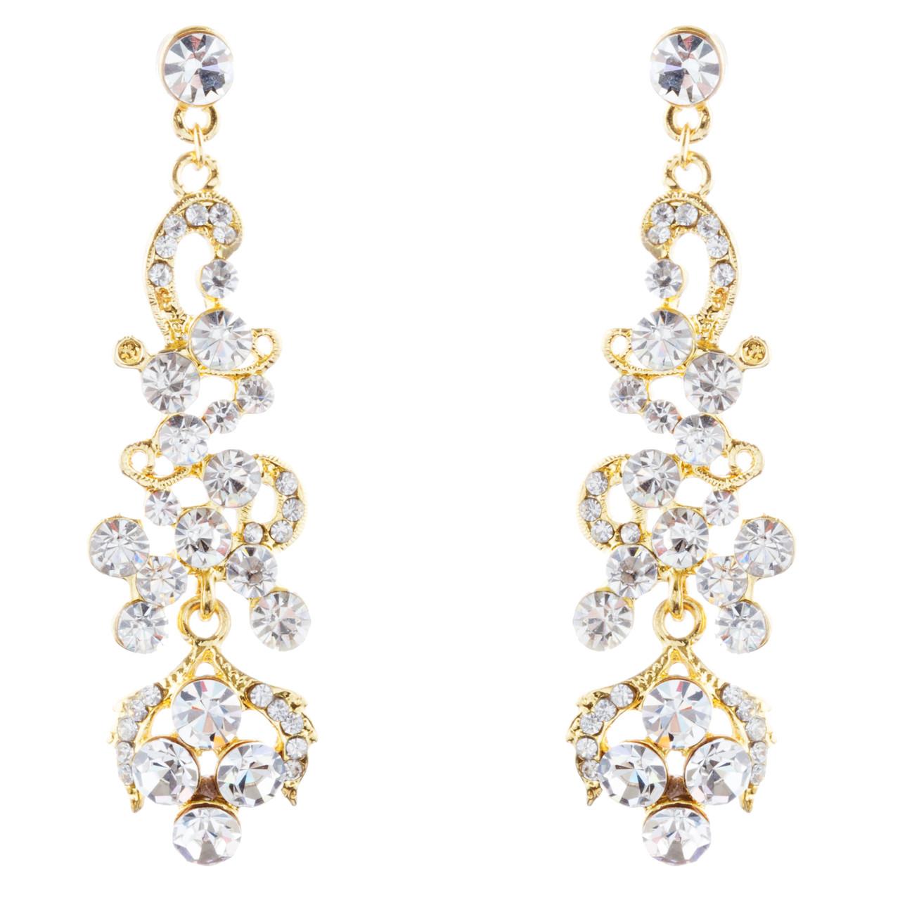 2859d5a8aa865 Bridal Wedding Jewelry Prom Classy Crystal Rhinestone Dangle Earrings E968  Gold