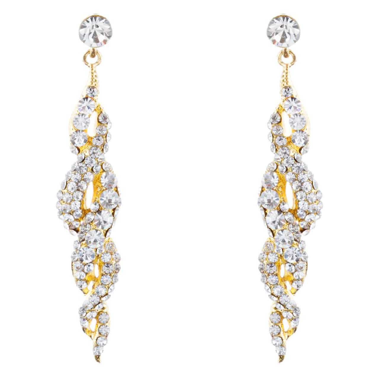 be7204c42c174 Bridal Wedding Jewelry Prom Crystal Rhinestone Classy Dangle Earrings E973  Gold