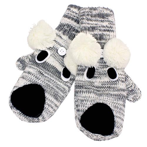 387ff3e544d Knitted Fun 3D Animal Soft Mittens Gloves Gray Koala