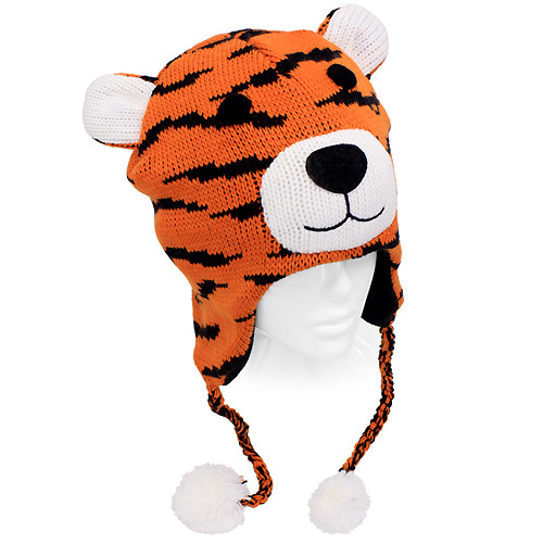 8dab5769293 Knitted 3D Animal Trooper Trapper Hat Ear Flaps Braided Tassels Orange  Bengal