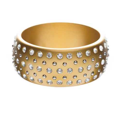 Fashion Sparkle Crystal Rhinestone Lucite Simple Liner Bangle Bracelet Gold