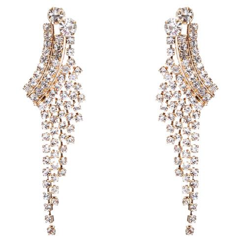 e3db753cf7673 Accessoriesforever | Bridal Wedding Rhinestone Crystal Pearl Earrings