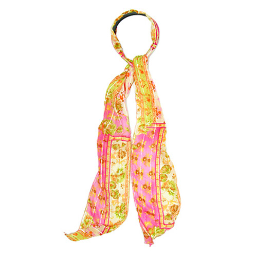 Fashion Scarf Look Headband Chiffon Flower Yellow Pink