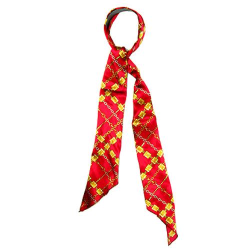Fashion Scarf Look Headband Satin Chain Design Red Gold