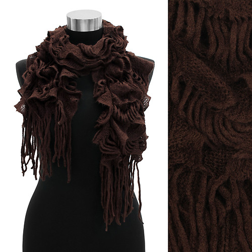 Woven Ruffle Knit Scarf with Fringe Brown