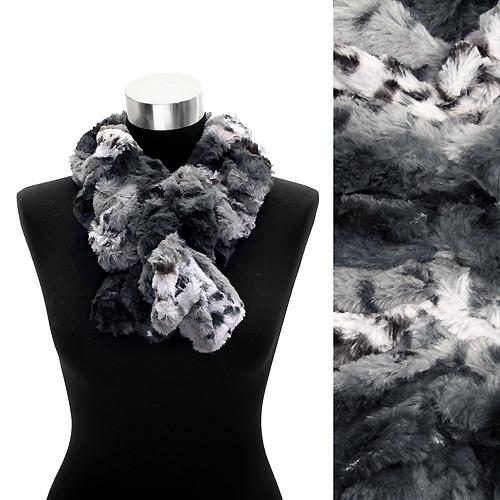 Faux Fur Ruffle Animal Print Scarf Black White