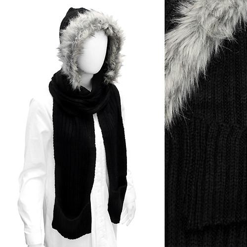 Fur Trim Hood Knit Scarf with Pocket Black