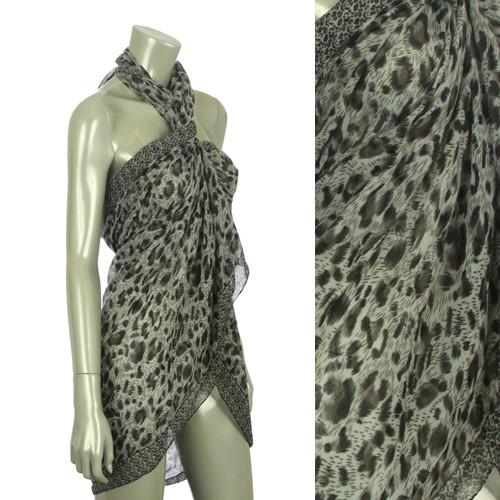 Beach Sarong Pareo Shawl Wrap Leopard N Border Black