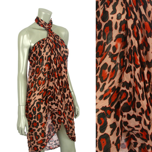 Beach Sarong Pareo Shawl Wrap Leopard Wrinkle Pink Red