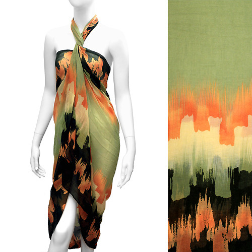 Beach Sarong Pareo Wrap Embossed Abstract Design Green