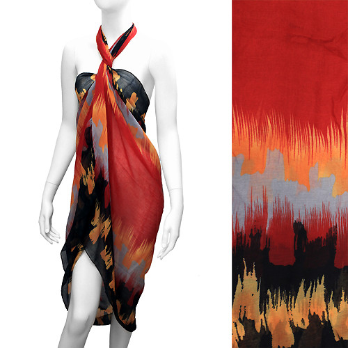 Beach Sarong Pareo Wrap Embossed Abstract Design Red