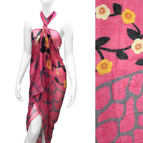 Beach Sarong Pareo Wrap Flower Animal Giraffe Pink