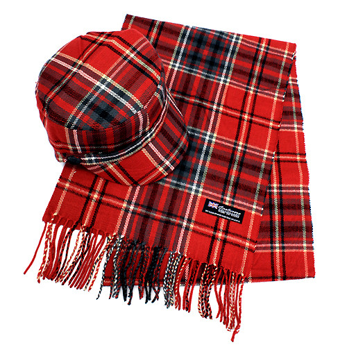 Classic Fashion Plaid Pattern Design Newsboy Hat and Soft Scarf Set  Red Black