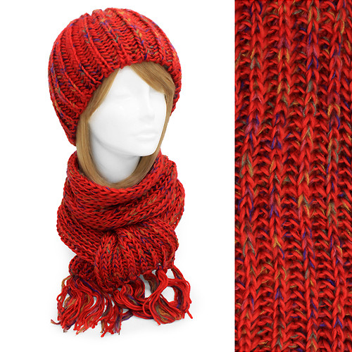 Multi-Colored Cold Weather Fashion Knitted Scarf & Beanie Hat 2 Pieces Set  Red