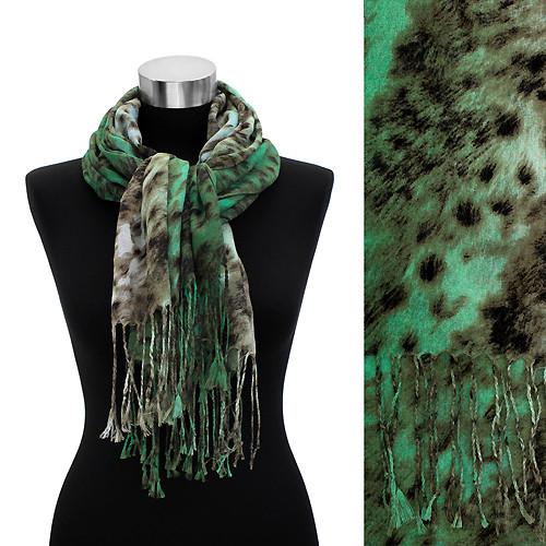 Leopard Animal Print with Fringe Fashion Trendy Scarf Green