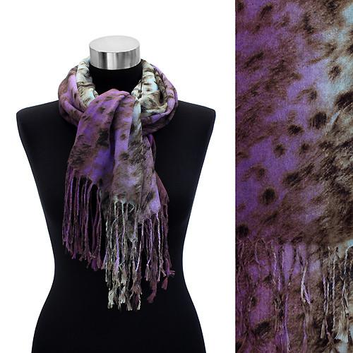 Leopard Animal Print with Fringe Fashion Trendy Scarf Purple