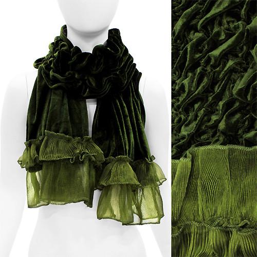 Silk Feel Velvet Frilled Edge Soft Luxurious Ruffle Fashion Scarf Green