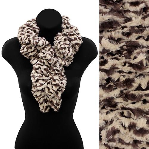 Zebra Pattern Animal Print Soft Faux Fur Ruffle Pull Through Scarf Brown