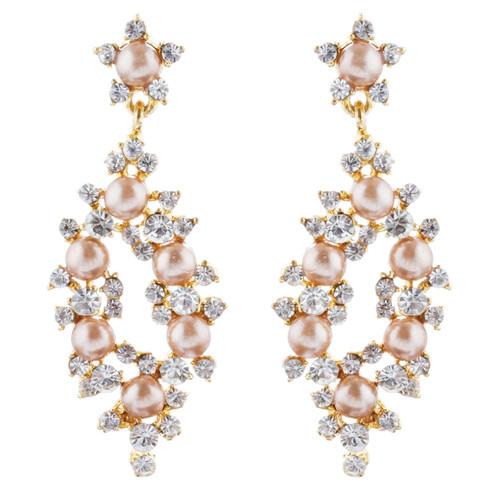 Bridal Wedding Jewelry Crystal Rhinestone Pearl Elegant Dangle Earrings Gold