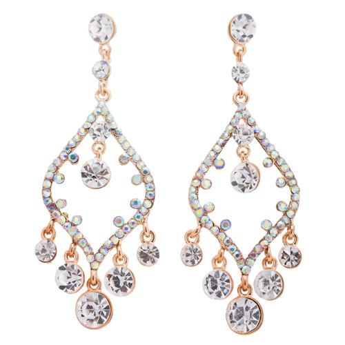 Bridal Wedding Jewelry Crystal Rhinestone Open Chandelier Dangle Earrings Gold