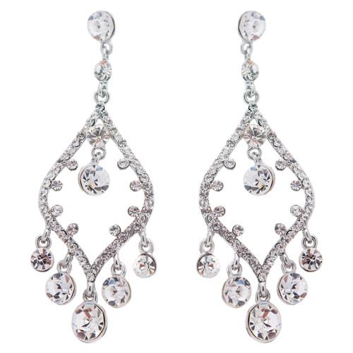Bridal Wedding Jewelry Crystal Rhinestone Open Chandelier Dangle Earrings Silver