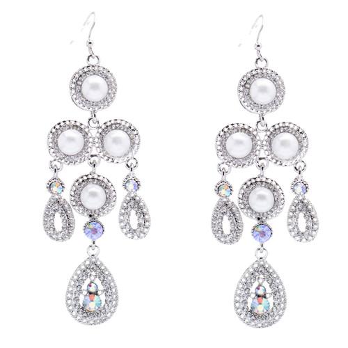 Bridal Wedding Jewelry Crystal Rhinestone Pearl Vintage Dangles Earrings Silver