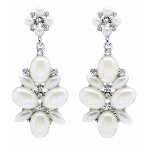 Bridal Wedding Jewelry Crystal Rhinestone Pearl Cluster Dangle Earrings Ivory