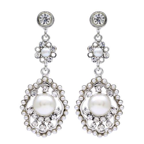 Bridal Wedding Jewelry Crystal Rhinestone Pearl Vintage Dangle Earrings Ivory