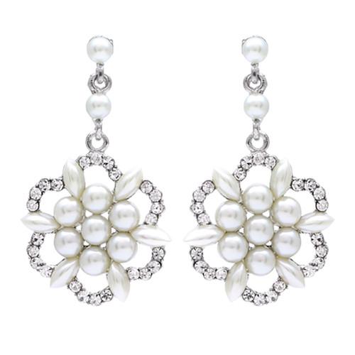 Bridal Wedding Jewelry Crystal Rhinestone Floral Cluster Dangle Earrings Ivory