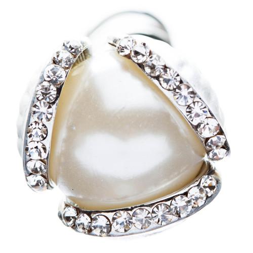 Bridal Wedding Jewelry Hair Spiral Pin Crystal Rhinestone Pearl Bud Silver