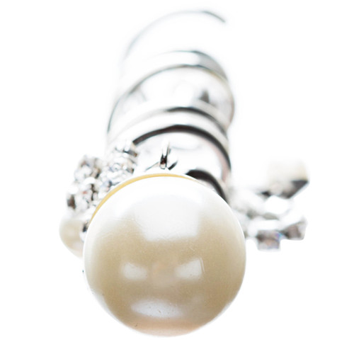 Bridal Wedding Jewelry Hair Spiral Pin Crystal Chain Dangle Pearl Silver Cream