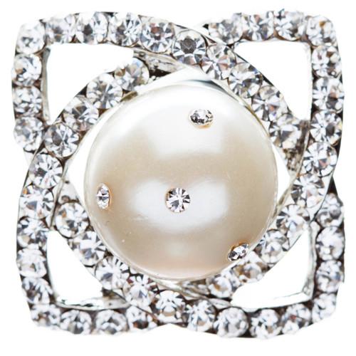 Bridal Wedding Jewelry Hair Spiral Pin Crystal Rhinestone Pearl Style Silver